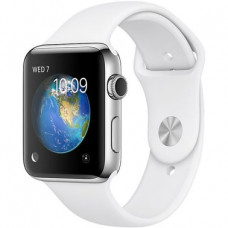 Apple Watch Stainless Steel Series 2 38mm Case With White Sport Band (MNP42)