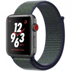Apple Watch Series 3 Nike+ (GPS + LTE) 38mm Space Gray Aluminium Case with Black/Pure Platinum Nike Sport Loop  (MQL82)