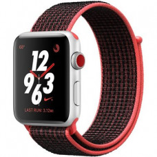Apple Watch Series 3 Nike+ (GPS + LTE) 38mm  Silver Aluminum Case with Bright Crimson/Black (MQL72)