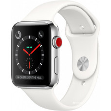 Apple Watch Series 3 GPS + Cellular 38mm Stainless Steel Case with Soft White Sport Band (MQJV2)