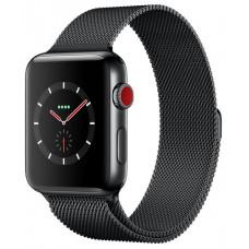 Apple Watch Series 3 GPS + Cellular 38mm Space Black Stainless Steel Case with Space Black Milanese Loop MR1H2