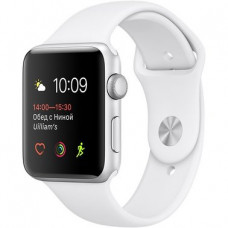 Apple Watch Series 1 42mm silver aluminium case w/white sport band (MNNL2)