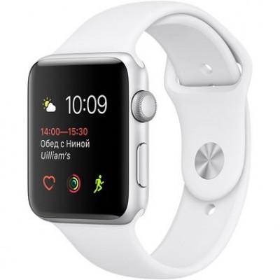 Apple Watch Series 1 42mm silver aluminium case w/white sport band (MNNL2)