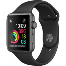 Apple Watch Series 1 42mm space Gray aluminium case with black sport band (MP032)