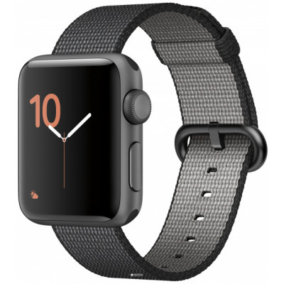 Apple Watch Sport Series 2 38mm Space Gray Aluminum Case with Black Woven Nylon Band (MP052)