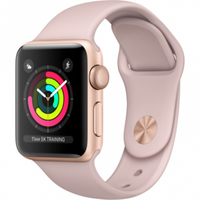 Apple Watch Series 3 42mm GPS Gold Aluminum Case with Pink Sand Sport Band MQL22